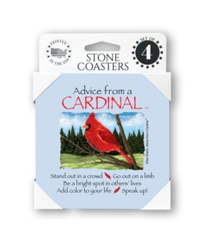 Advice from a Cardinal  coaster 4-pack
