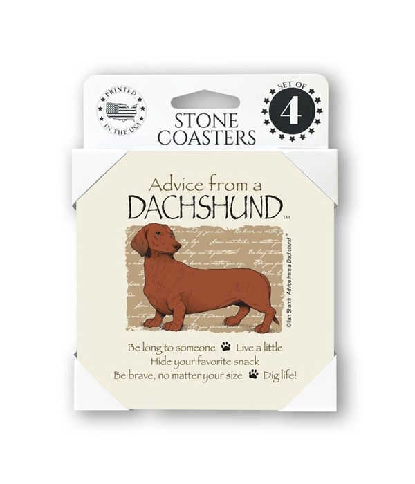 Advice from a Dachshund  coaster 4-pack