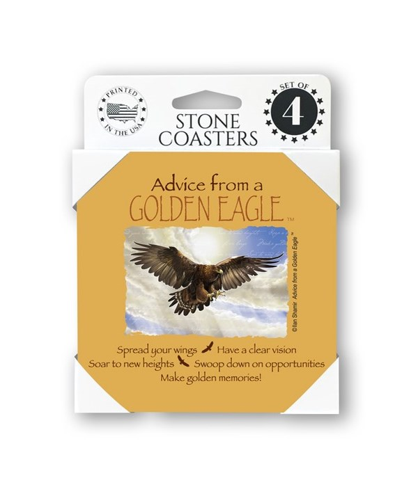 Advice from a Golden Eagle  coaster 4-pa