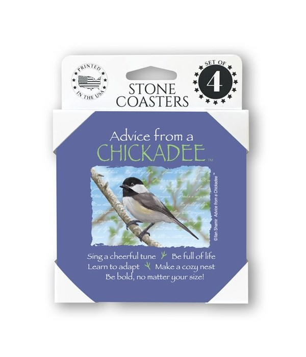 Advice from a Chickadee  coaster 4-pack
