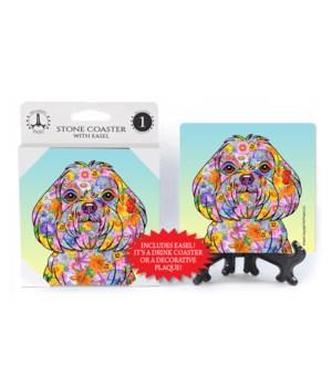 Maltese (flower design) puppy cut