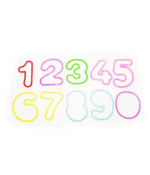 Numbers 000-9 rubber bands-glitter-12pc