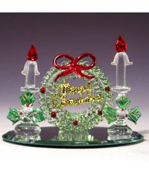 """*Wreath with candle on oval mirror 3"""""""