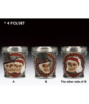 4 asst. Wedding skull shot glass 4PC set