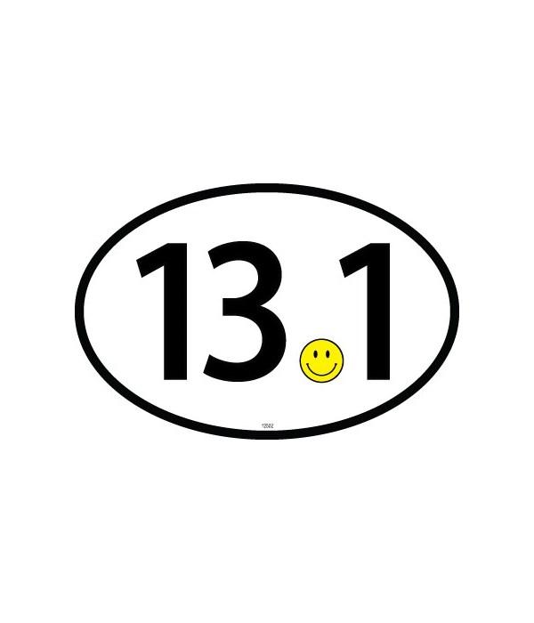 13.1 (smiley for dot) Black Oval magnet