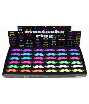*Mustache Adjustable Neon Ring 36PC