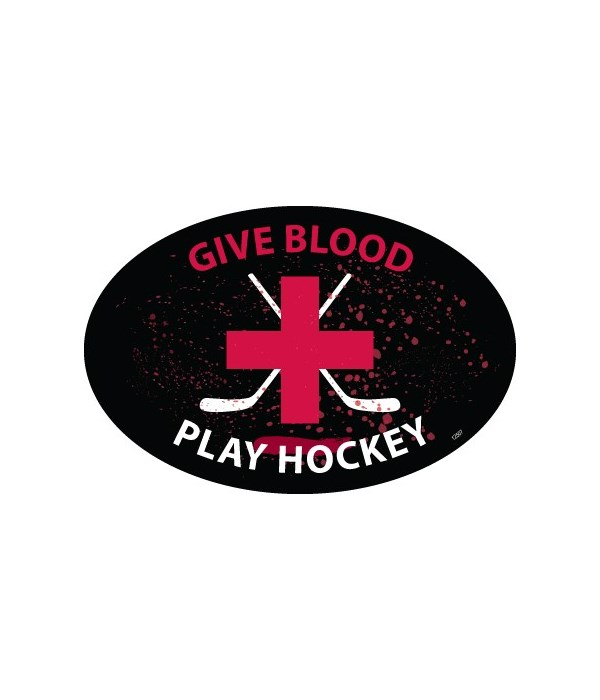 Give Blood Play Hockey Oval magnet