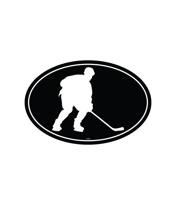 Hockey Player (silhouette) Oval magnet