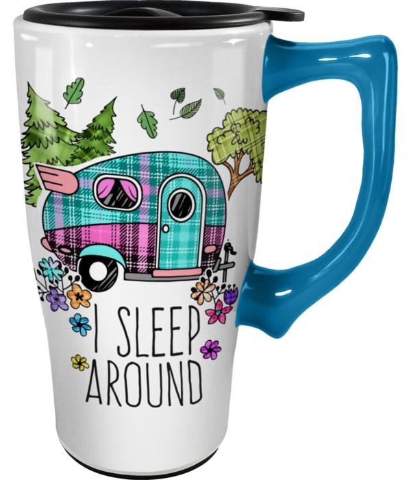 I SLEEP AROUND TRAVEL MUG
