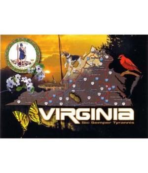 VA Postcard State Map