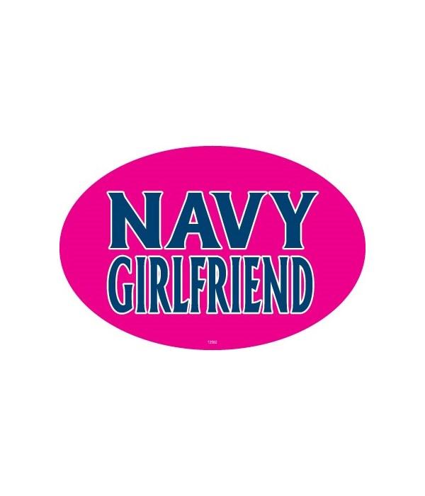 Navy Girlfriend Oval magnet