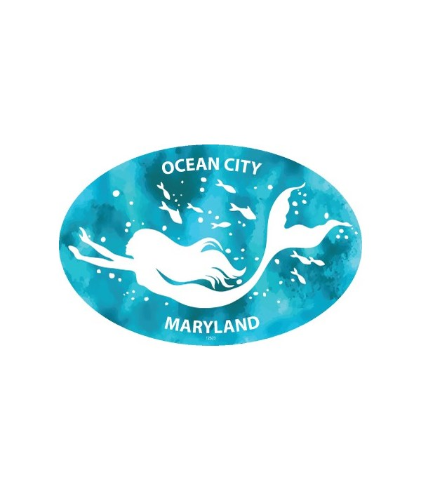 Mermaid (swimming with fish) Oval magnet