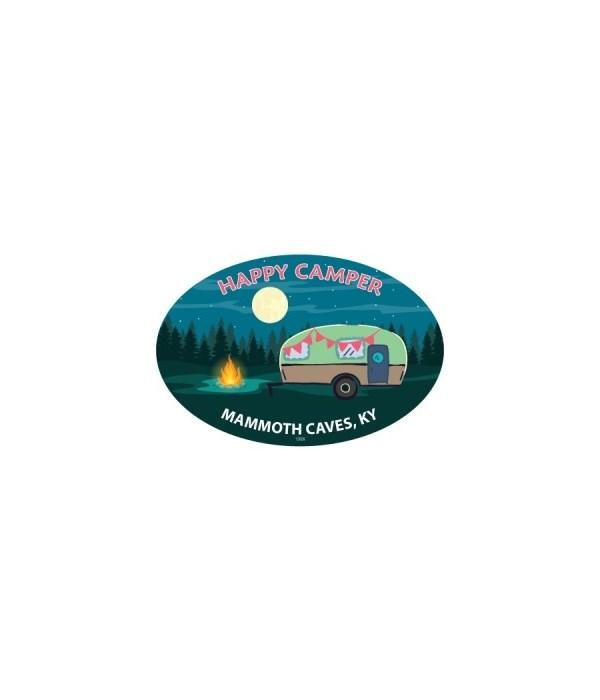 Happy Camper (camper with campfire, tree