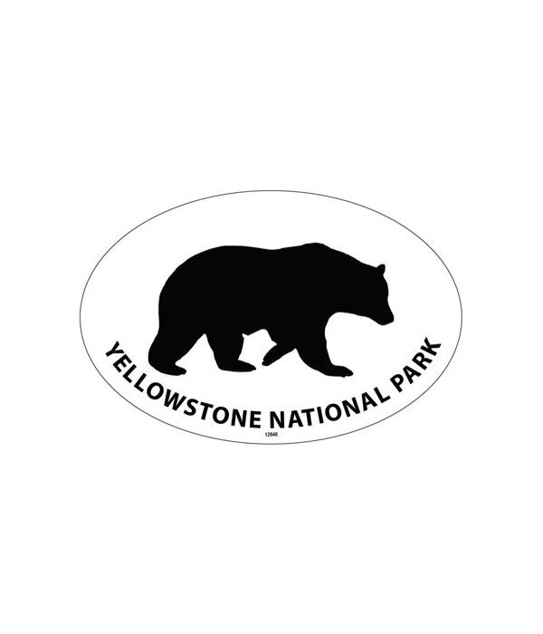 Grizzly bear silhouette  Oval magnet