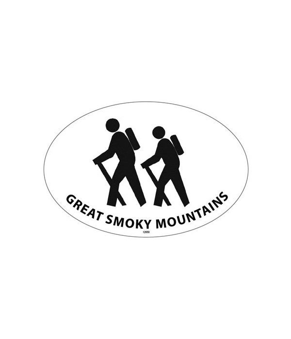 Hiker Silhouette Oval magnet