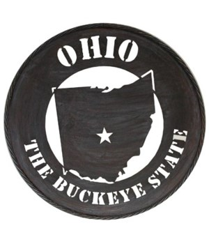 Ohio Wall Art Metal Circle State 24""