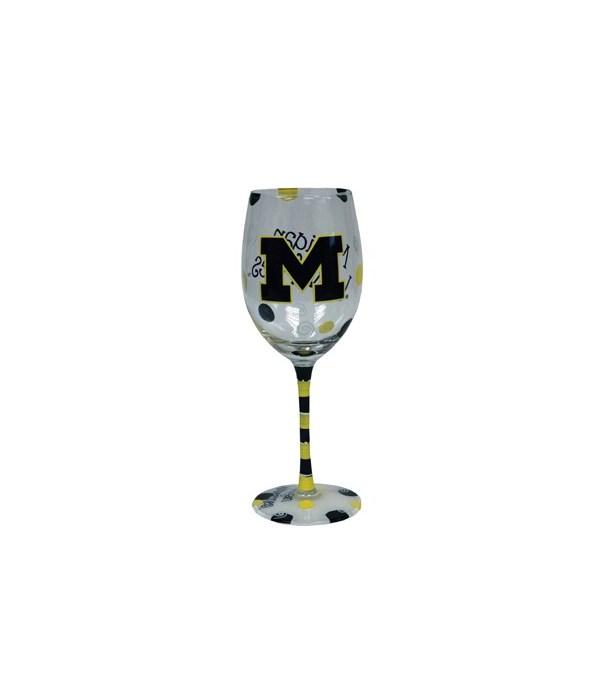 U of M Drinkware Wine Glass 12oz
