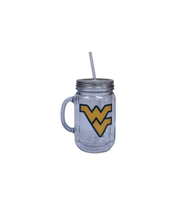 WV-U Mason Jar Plastic 20oz