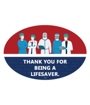 Covid Thank you lifesaver oval magnet