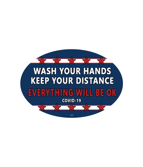 Covid Wash your hands oval magnet