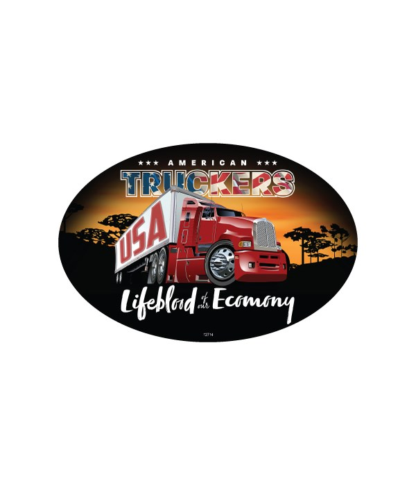 American Truckers Oval Magnet