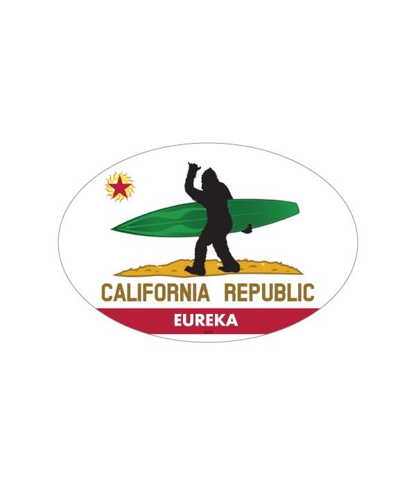 Bigfoot surfboard on California flag