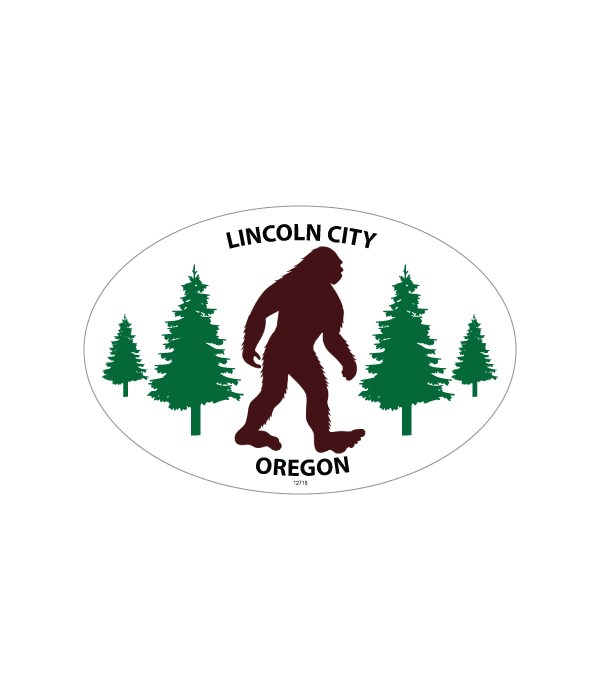 Bigfoot silhouette w/pine trees