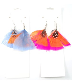 *Feather Earrings Assorted 8PC