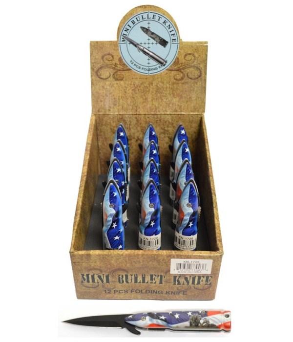 *US Flag bullet knife 12PC display