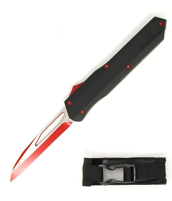 """OTF 5.5"""" Black with red trigger & red blade knife"""