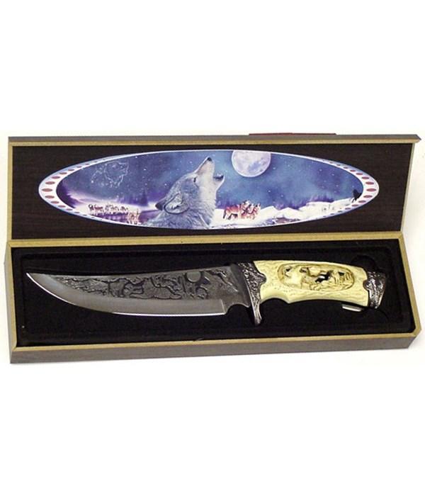 """Wolf 6"""" BL/ 11""""L Dagger/carved bl&handl"""