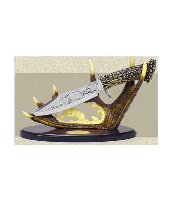 "Bear Dagger-7.5"" Blade& 10""carved stand"
