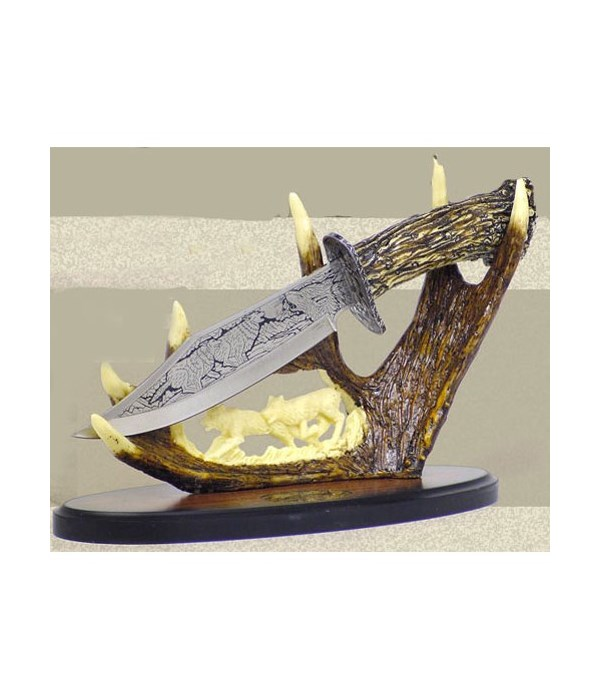 """Wolf Dagger-7.5"""" Blade& 10""""carved stand"""