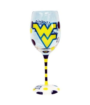 WV-U Drinkware Wine Glass 12oz