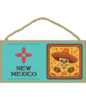 New Mexico flag with day of the dead ima