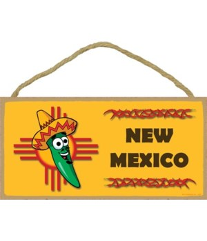 New Mexico flag with green chile in a so