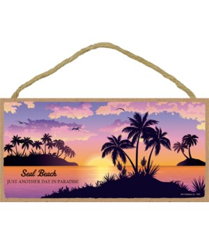 Beach, palms and sunset (scenic image wi