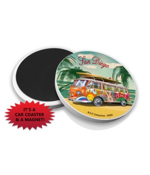 VW Van on beach w/palms - Pacific Beach
