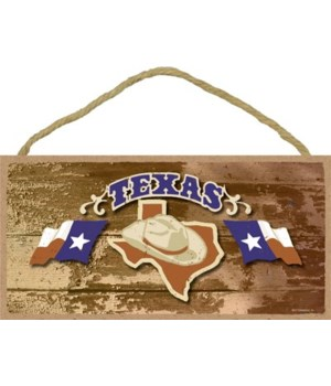 Texas - State Outline with Cowboy Hat an