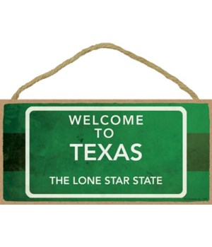 Texas - Green Interstate Sign - Welcome