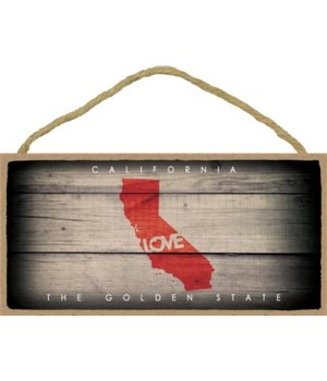"CALIFORNIA - State Outline with ""Love"" a"