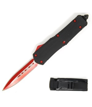 """OTF 5.5"""" BK handle RED blade w/case"""