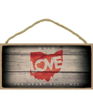 """OHIO - State Outline with """"Love"""" and Sta"""