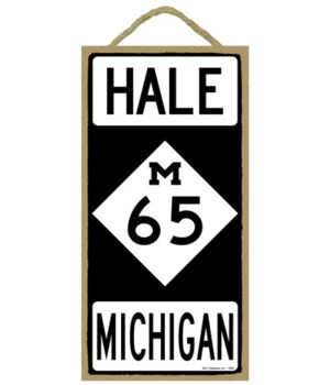 Hale, Michigan M65 diamond highway sign
