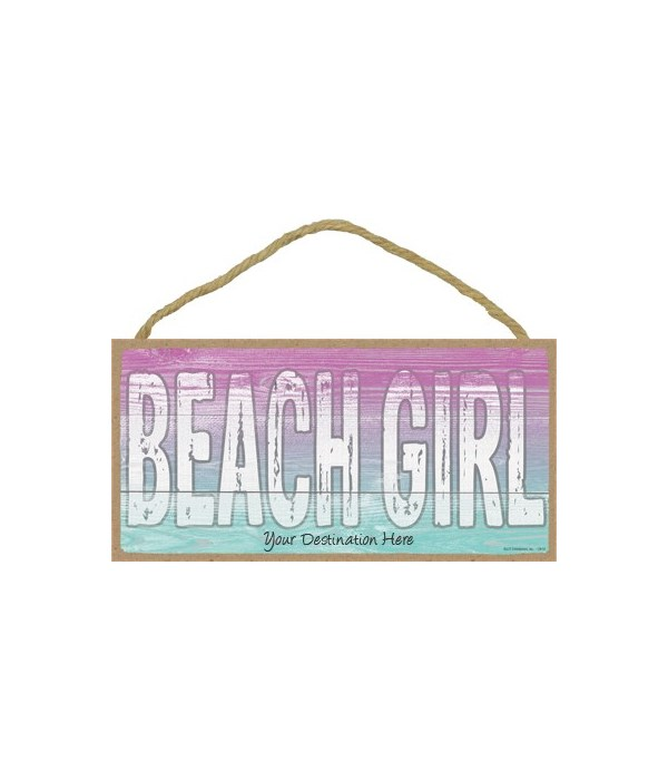 Beach Girl - Pink and Blue Background 5x