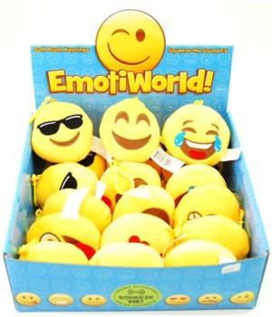 *Emoji plush sound k/c -6/A 18pc Dsp