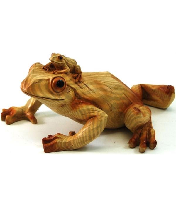 Frog mom/baby wood look