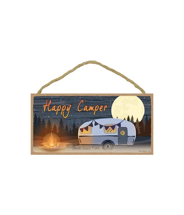 Happy Camper - Campfire next to camper -