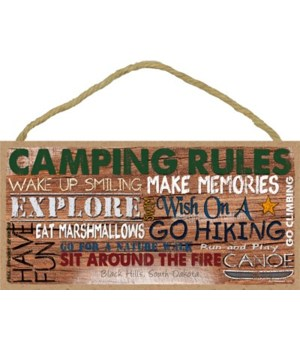 Camping Rules: Rustic painted font 5x10