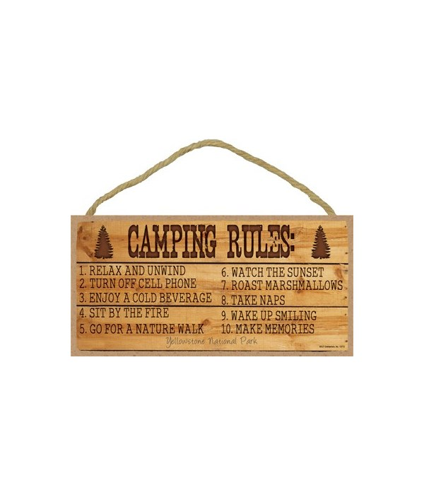 Camping Rules - carved into wood 5x10